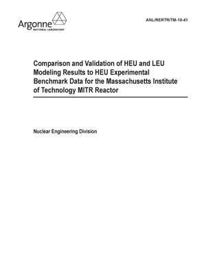Primary view of object titled 'Comparison and validation of HEU and LEU modeling results to HEU experimental benchmark data for the Massachusetts Institute of Technology MITR reactor.'.