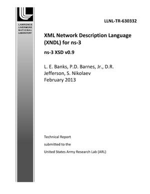 Primary view of object titled 'XML Network Description Language (XNDL) for ns-3'.