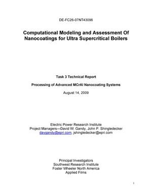 Primary view of object titled 'Computational Modeling and Assessment Of Nanocoatings for Ultra Supercritical Boilers'.