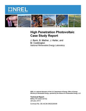 Primary view of object titled 'High Penetration Photovoltaic Case Study Report'.