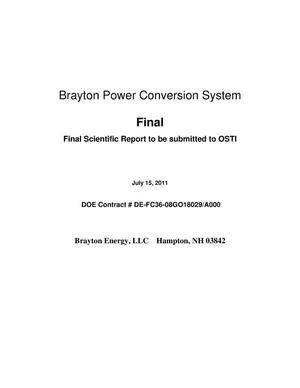 Primary view of object titled 'Brayton Power Conversion System'.