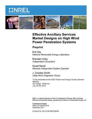 Primary view of object titled 'Effective Ancillary Services Market Designs on High Wind Power Penetration Systems: Preprint'.