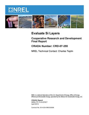 Primary view of object titled 'Evaluate Si Layers: Cooperative Research and Development Final Report, CRADA Number CRD-07-255'.