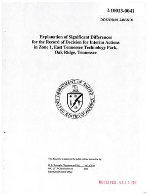Primary view of object titled 'Explanation of Significant Differences for the Record of Decision for Interim Actions in Zone 1, East Tennessee Technology Park, Oak Ridge, Tennessee'.