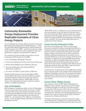 Primary view of object titled 'Community Renewable Energy Deployment Provides Replicable Examples of Clean Energy Projects (Fact Sheet)'.