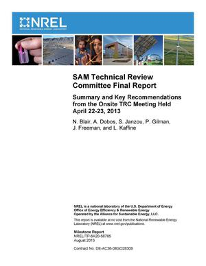 Primary view of object titled 'SAM Technical Review Committee Final Report: Summary and Key Recommendations from the Onsite TRC Meeting Held April 22-23, 2013'.