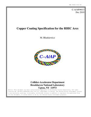 Primary view of object titled 'Copper coating specification for the RHIC arcs'.