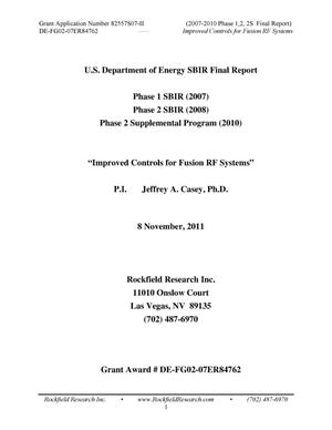 Primary view of object titled 'Improved Controls for Fusion RF Systems. Final technical report'.