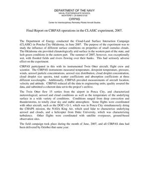 Primary view of object titled 'Final Report on NPS/CIRPAS support of DOE Classic Experiment'.
