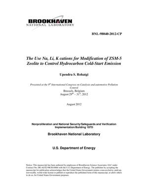 Primary view of object titled 'The use Na, Li, K cations for modification of ZSM-5 zewolite to control hydrocarbon cold-start emission'.