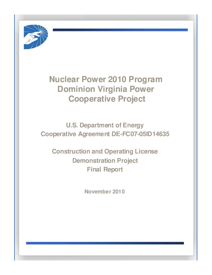 Nuclear power 2010 program dominion virginia power cooperative nuclear power 2010 program dominion virginia power cooperative project us department of energy cooperative agreement de fc07 05id14635 construction and platinumwayz