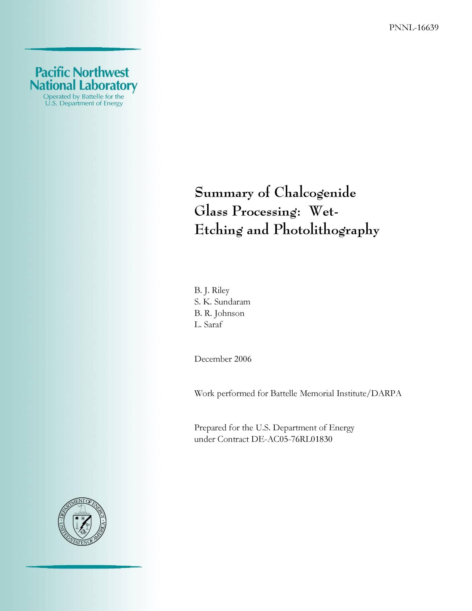 Summary Of Chalcogenide Glass Processing Wet Etching And Photolithography Digital Library