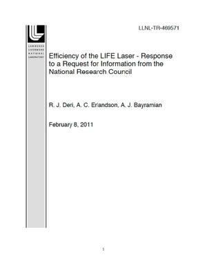 Primary view of object titled 'Efficiency of the LIFE Laser - Response to a Request for Information from the National Research Council'.