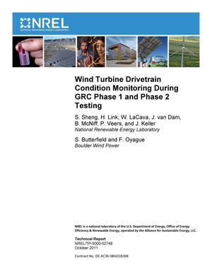 Primary view of object titled 'Wind Turbine Drivetrain Condition Monitoring During GRC Phase 1 and Phase 2 Testing'.
