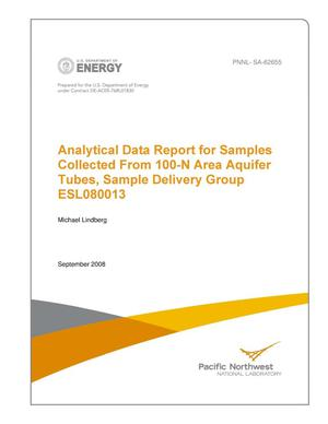 Primary view of object titled 'Analytical Data Report for Samples Collected From 100-N Area Aquifer Tubes, Sample Delivery Group ESL080013'.
