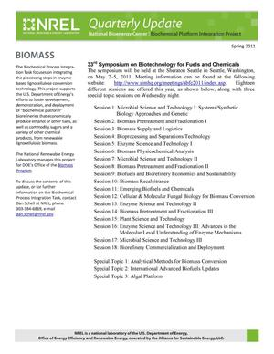 Primary view of object titled 'National Bioenergy Center Biochemical Platform Integration Project Quarterly Update, Number 28, Spring 2011'.