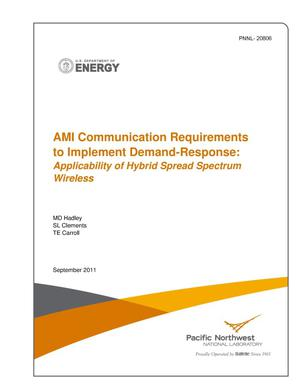 Primary view of object titled 'AMI Communication Requirements to Implement Demand-Response: Applicability of Hybrid Spread Spectrum Wireless'.