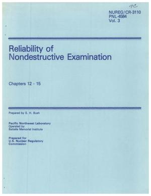 Primary view of object titled 'Reliability of Nondestructive Examination Chapters 12 - 15'.