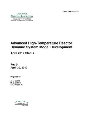 Primary view of object titled 'Advanced High Temperature Reactor Dynamic System Model Development'.