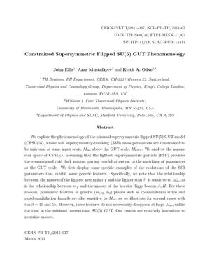 Primary view of object titled 'Constrained Sypersymmetric Flipped SU (5) GUT Phenomenology'.