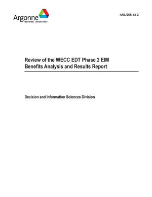 Primary view of object titled 'Review of the WECC EDT phase 2 EIM benefits analysis and results report.'.