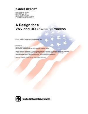 Primary view of object titled 'A design for a V&V and UQ discovery process.'.