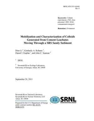 Primary view of MOBILIZATION AND CHARACTERIZATION OF COLLOIDS GENERATED FROM CEMENT LEACHATES MOVING THROUGH A SRS SANDY SEDIMENT