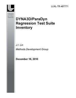 Primary view of object titled 'DYNA3D/ParaDyn Regression Test Suite Inventory'.