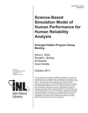 Primary view of object titled 'Science-Based Simulation Model of Human Performance for Human Reliability Analysis'.