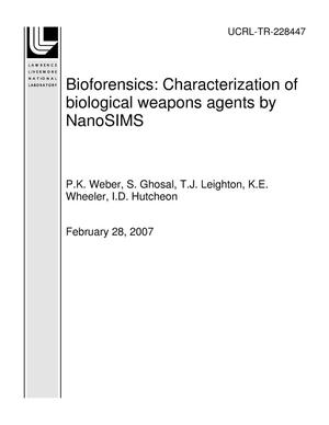Primary view of object titled 'Bioforensics: Characterization of biological weapons agents by NanoSIMS'.