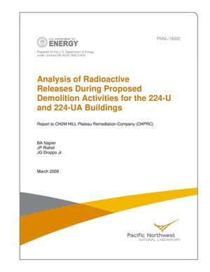 Primary view of object titled 'Analysis of Radioactive Releases During Proposed Demolition Activities for the 224-U and 224-UA Buildings'.