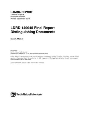 Primary view of object titled 'LDRD 149045 final report distinguishing documents.'.