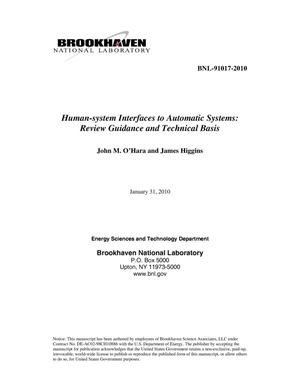 Primary view of object titled 'Human-system Interfaces to Automatic Systems: Review Guidance and Technical Basis'.