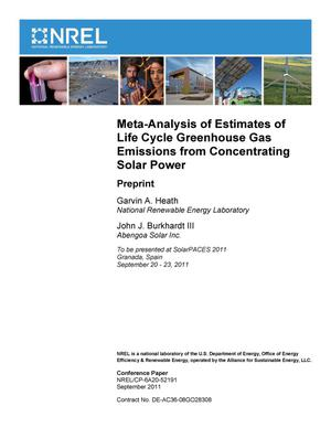 Primary view of object titled 'Meta-Analysis of Estimates of Life Cycle Greenhouse Gas Emissions from Concentrating Solar Power: Preprint'.