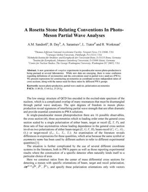 Primary view of object titled 'A Rosetta Stone Relating Conventions In Photo-Meson Partial Wave Analyses'.
