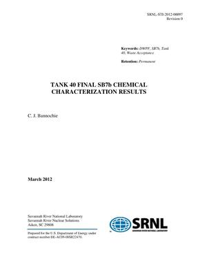 Primary view of TANK 40 FINAL SB7B CHEMICAL CHARACTERIZATION RESULTS