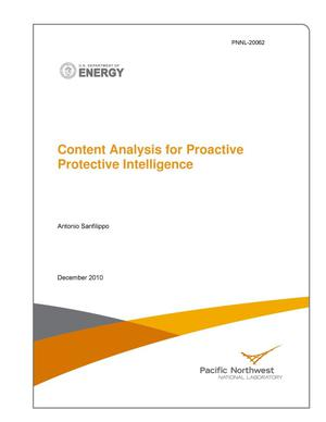 Primary view of object titled 'Content Analysis for Proactive Protective Intelligence'.
