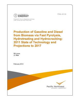 Primary view of object titled 'Production of Gasoline and Diesel from Biomass via Fast Pyrolysis, Hydrotreating and Hydrocracking: 2011 State of Technology and Projections to 2017'.