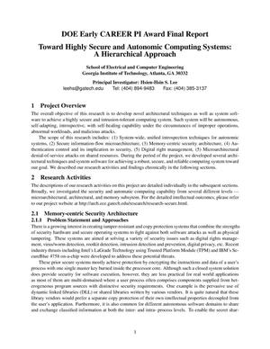 Primary view of object titled 'TOWARD HIGHLY SECURE AND AUTONOMIC COMPUTING SYSTEMS: A HIERARCHICAL APPROACH'.