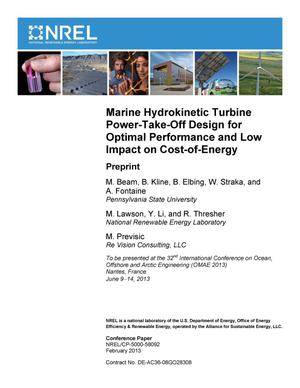 Primary view of object titled 'Marine Hydrokinetic Turbine Power-Take-Off Design for Optimal Performance and Low Impact on Cost-of-Energy: Preprint'.
