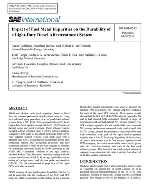 Primary view of object titled 'Impact of Fuel Metal Impurities on the Durability of a Light-Duty Diesel Aftertreatment System'.