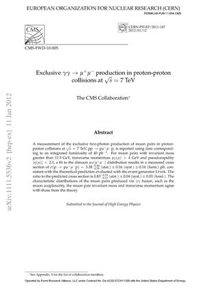 Primary view of object titled 'Exclusive photon-photon production of muon pairs in proton-proton collisions at sqrt(s) = 7 TeV'.