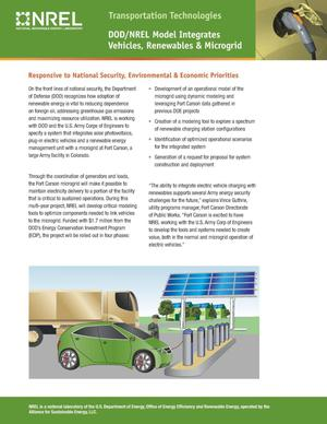 Primary view of object titled 'DOD/NREL Model Integrates Vehicles, Renewables & Microgrid (Fact Sheet)'.