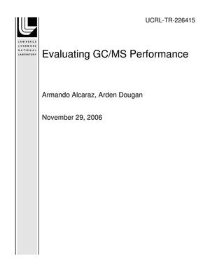 Primary view of object titled 'Evaluating GC/MS Performance'.
