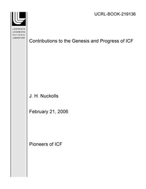 Primary view of object titled 'Contributions to the Genesis and Progress of ICF'.