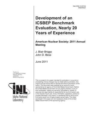 Primary view of object titled 'Development of an ICSBEP Benchmark Evaluation, Nearly 20 Years of Experience'.