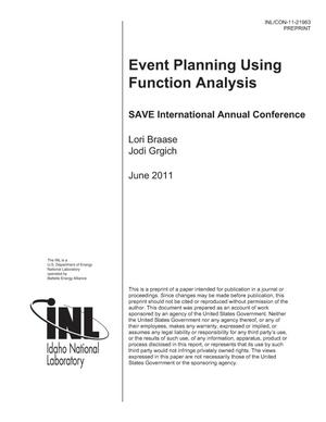 Primary view of object titled 'EVENT PLANNING USING FUNCTION ANALYSIS'.