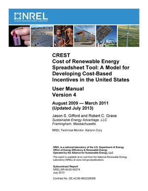 Primary view of object titled 'CREST Cost of Renewable Energy Spreadsheet Tool: A Model for Developing Cost-Based Incentives in the United States; User Manual Version 4, August 2009 - March 2011 (Updated July 2013)'.