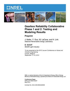 Primary view of object titled 'Gearbox Reliability Collaborative Phase 1 and 2: Testing and Modeling Results; Preprint'.