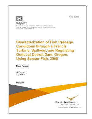 Primary view of object titled 'Characterization of Fish Passage Conditions through a Francis Turbine, Spillway, and Regulating Outlet at Detroit Dam, Oregon, Using Sensor Fish, 2009'.